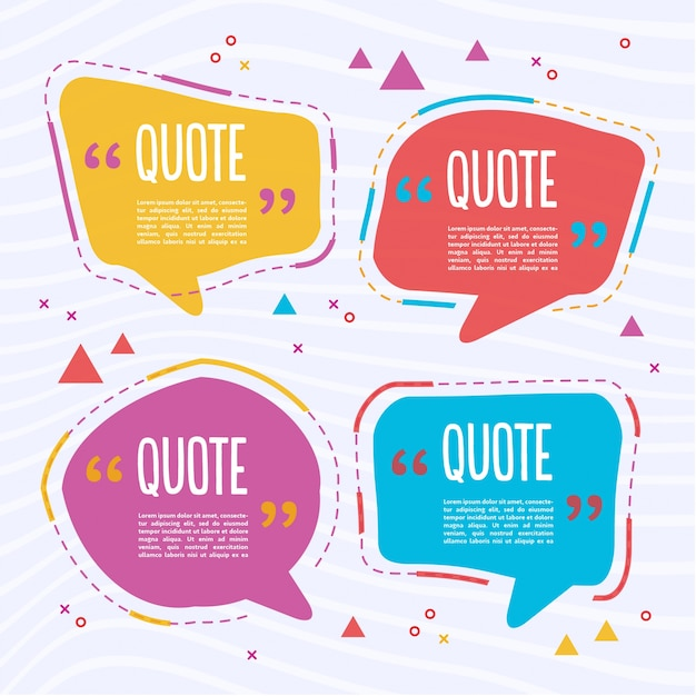 Four colorful text templates Free Vector