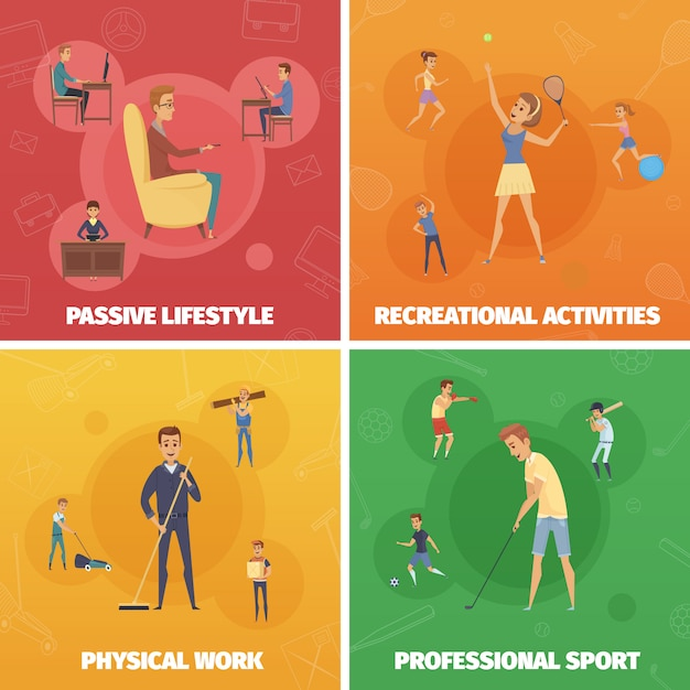 Four compositions set with active lifestyle images of human characters Free Vector