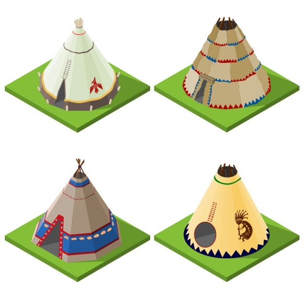 Four cone shaped tent, isometric view Free Vector