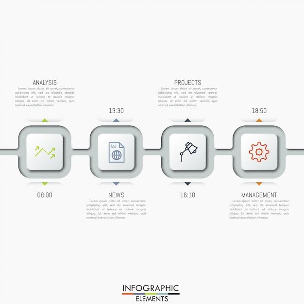 アイコン、テキストボックス、時間表示のある4つの接続された正方形要素。 Premiumベクター