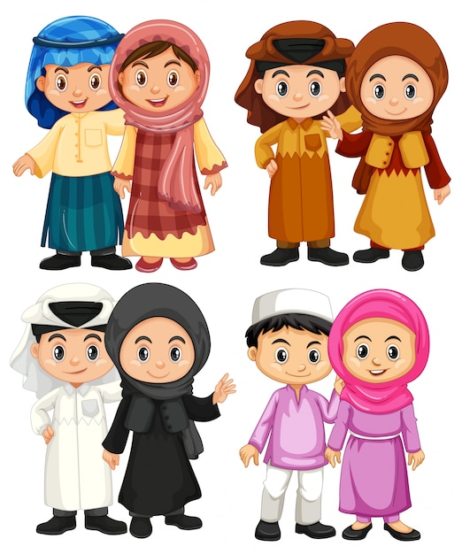 Four couple of muslim kids in traditional costumes Vector ...