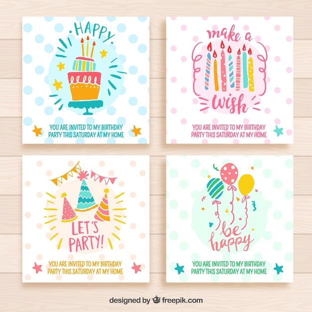 four cute birthday invitations hand drawn style vector free download