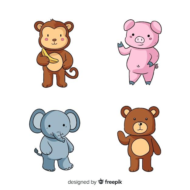 Four cute cartoon animals design Premium Vector