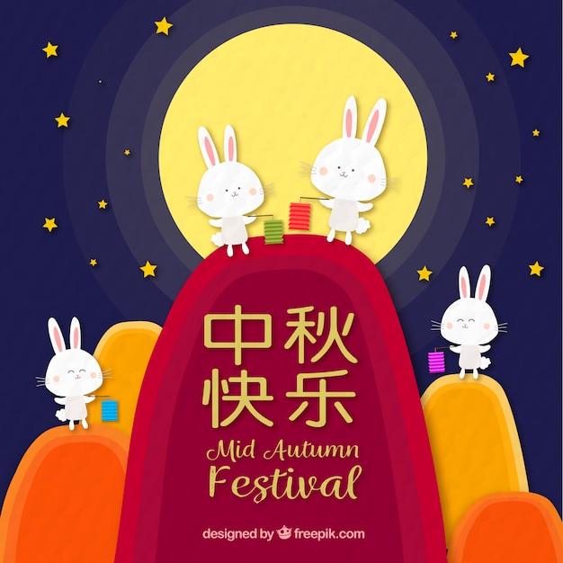 Four cute rabbits, mid autumn festival
