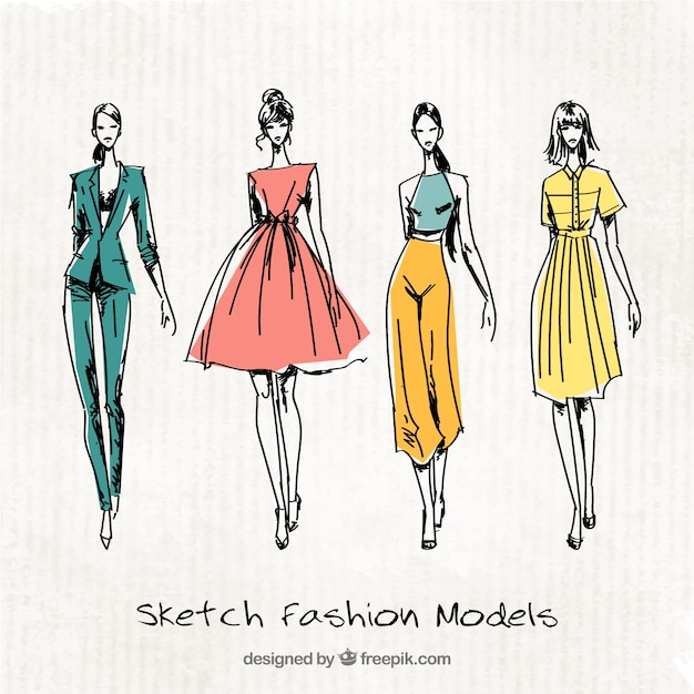 Four Cute Sketches Of Fashion Models Vector Free Download