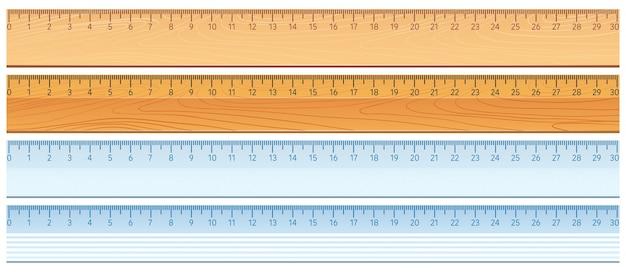 Four designs of rulers Premium Vector