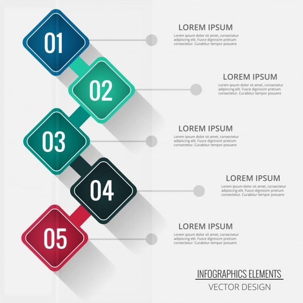 Four diamond-shaped options for infographics Free Vector