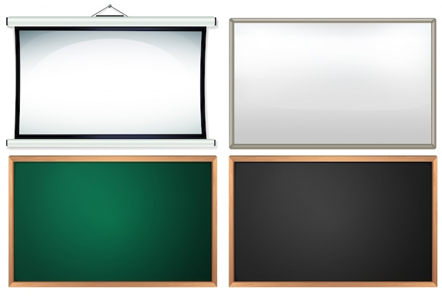 Four different board and frames Free Vector