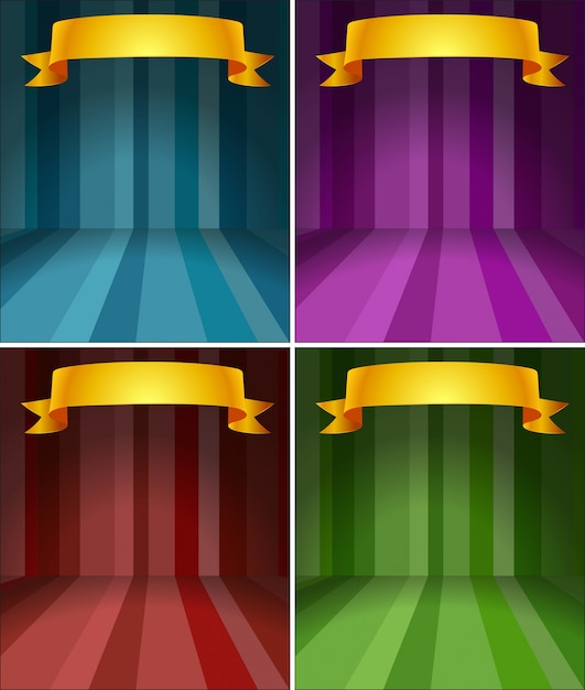 four different color stages with ribbon vector free download
