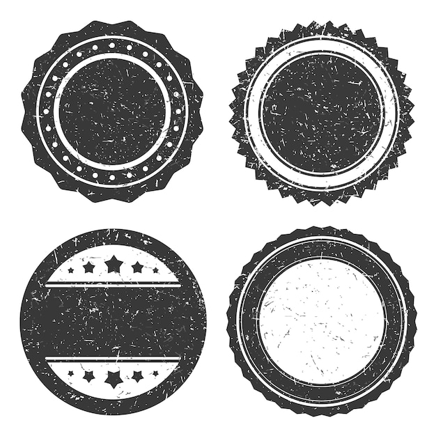 Four different grunge badge, circle stamp old styled. Premium Vector