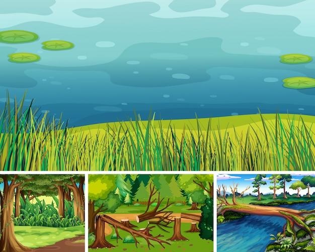 森と沼の漫画スタイルの4つの異なる自然シーン 無料ベクター