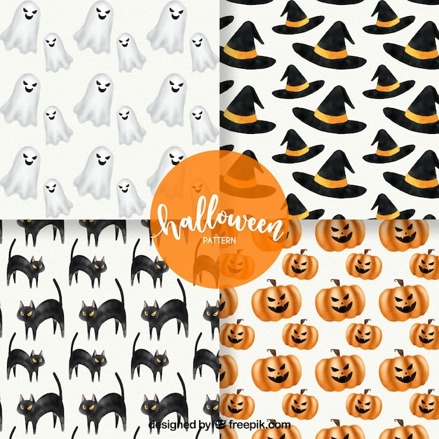 Four different patterns in a halloween theme