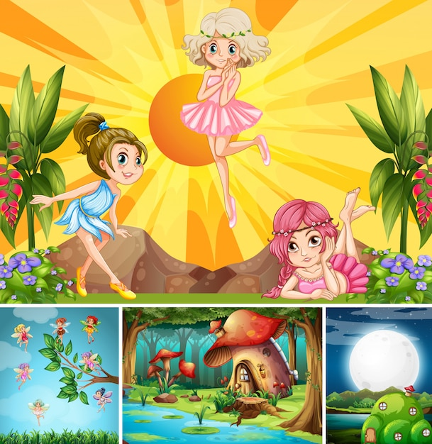 Four different scene of fantasy world with beautiful fairies in the fairy tale Free Vector