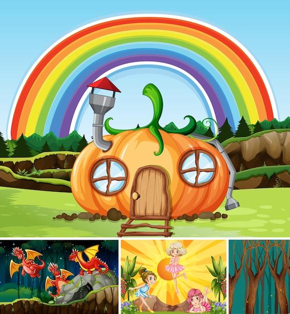 Quattro diverse scene del mondo fantastico con luoghi fantastici e personaggi fantastici come il drago e la casa delle zucche Vettore gratuito
