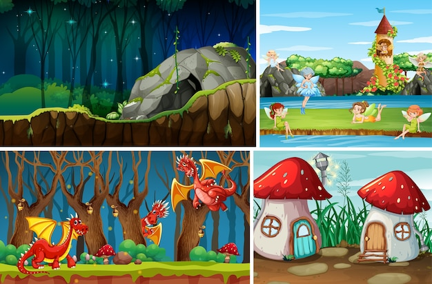 Quattro diverse scene di mondo fantastico con luoghi fantastici e personaggi fantastici come draghi e fate Vettore gratuito