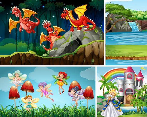 Четыре разные сцены фантастического мира с фантастическими персонажами Бесплатные векторы