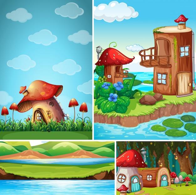 おとぎ話のファンタジーハウスとファンタジーの世界の4つの異なるシーン 無料ベクター
