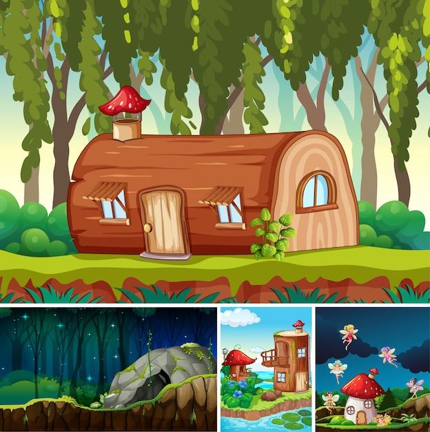 Четыре разные сцены фантастического мира с фантастическими местами и фантастическими персонажами, такими как бревенчатый дом и каменная пещера Бесплатные векторы