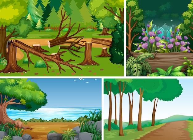 森の漫画のスタイルの4つの異なるシーン 無料ベクター