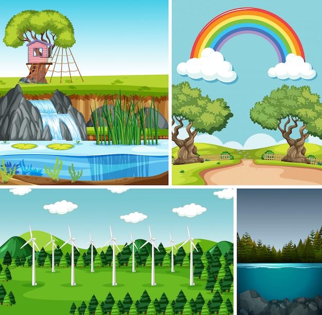 自然設定漫画スタイルの4つの異なるシーン 無料ベクター