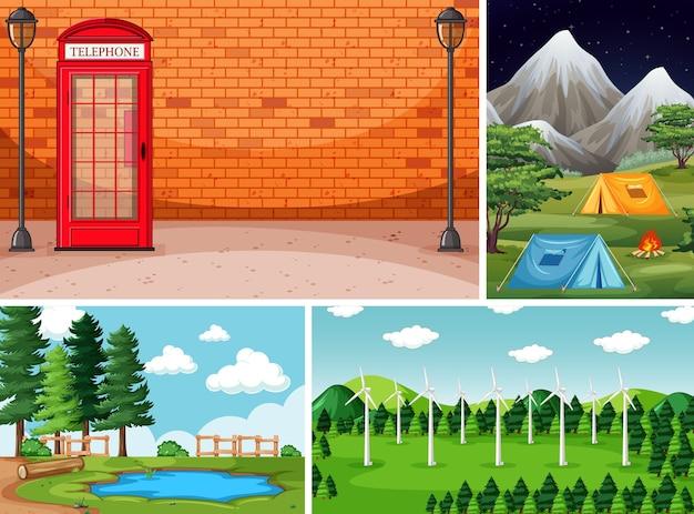Четыре разных сцены на природе в мультяшном стиле Бесплатные векторы