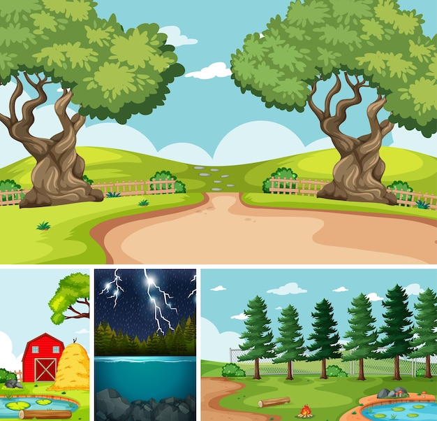 Four different scenes in nature setting cartoon style Free Vector