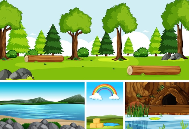 Quattro diverse scene in natura in stile cartone animato Vettore gratuito