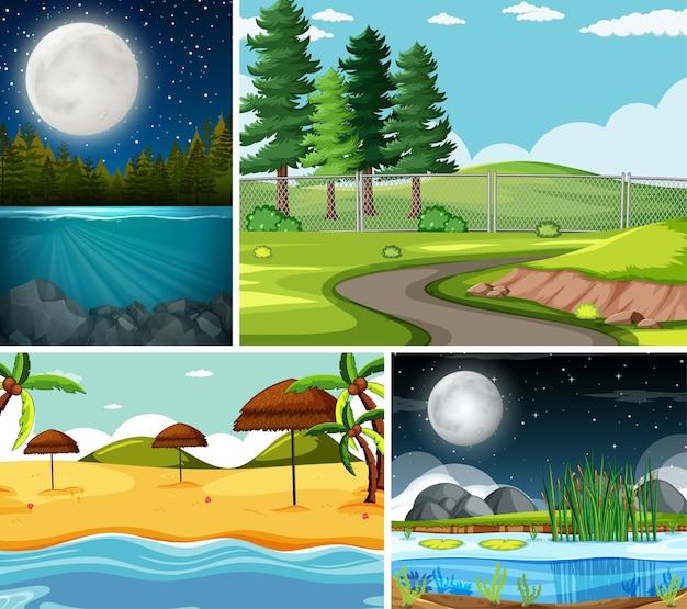 Quattro diverse scene in ambiente naturale Vettore gratuito