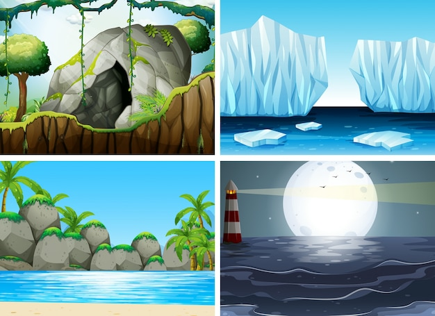 Four different scenes with ocean and\ moutain
