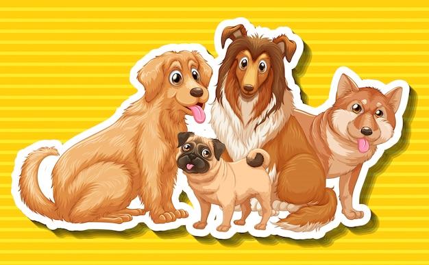4種類の犬 無料ベクター