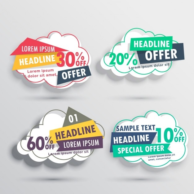 Four Discount Vouchers With Cloud Shape Free Vector  Free Discount Vouchers