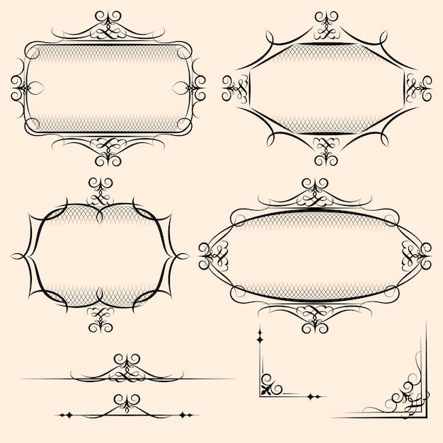 陰影の詳細と装飾的な要素としての使用のために繁栄する4つのエレガントなベクトルヴィンテージフレーム 無料ベクター