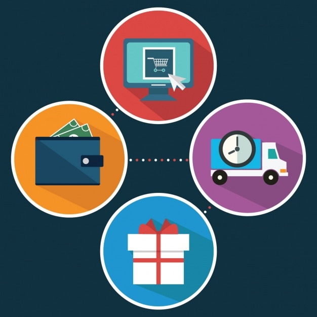Four elements about e commerce Free Vector