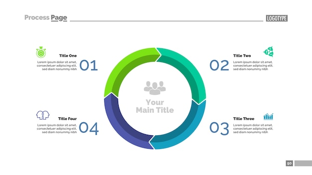 four elements circle chart slide template business data graph