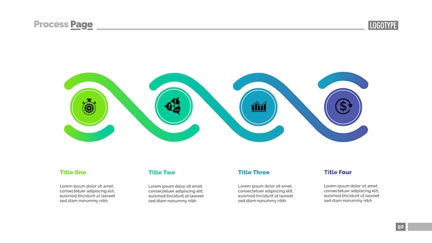 Four elements process chart template. business data. Free Vector