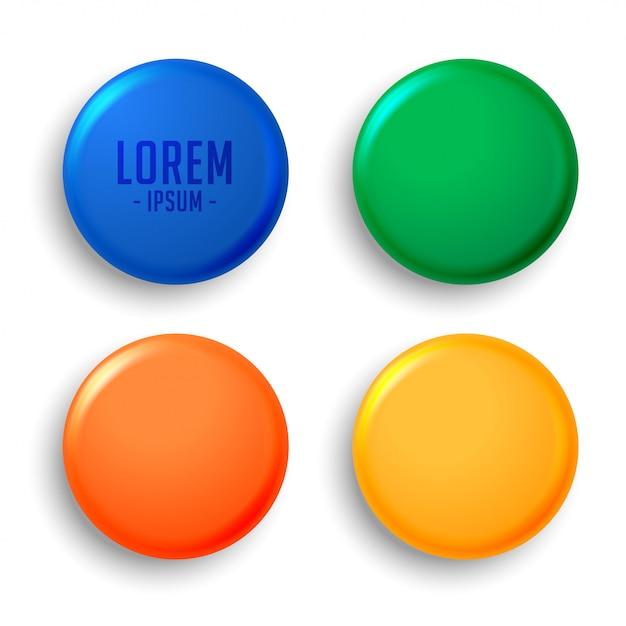 Four empty magnet badges set Free Vector