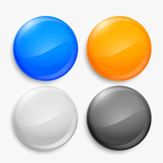 Four empty shiny circular buttons set Free Vector
