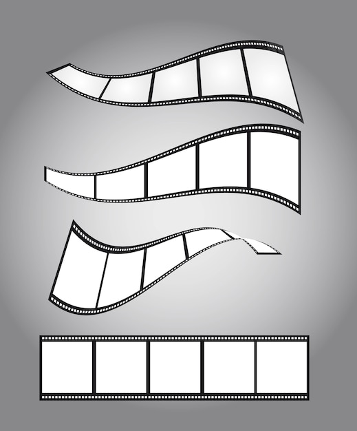 Four film countdown over silver background vector Premium Vector
