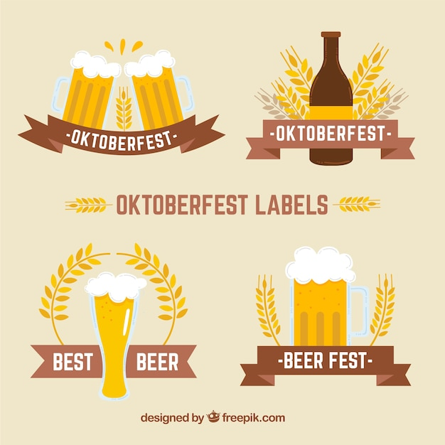 Four flat badges for oktoberfest