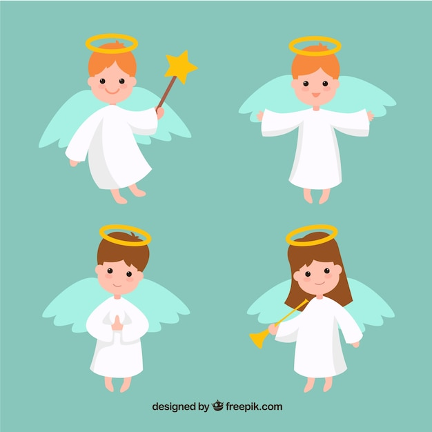 Four flat christmas angels Free Vector