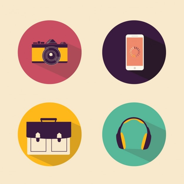 Four flat icons Free Vector