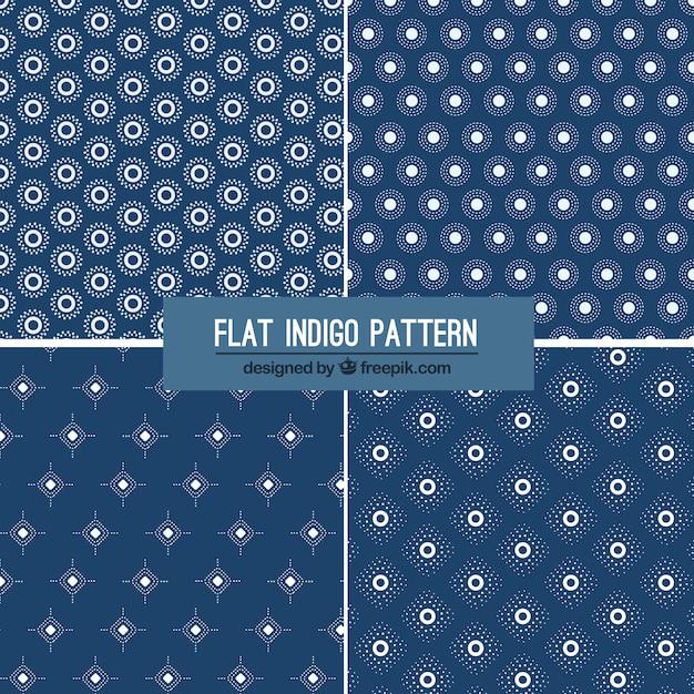 Four flat indigo patterns Free Vector