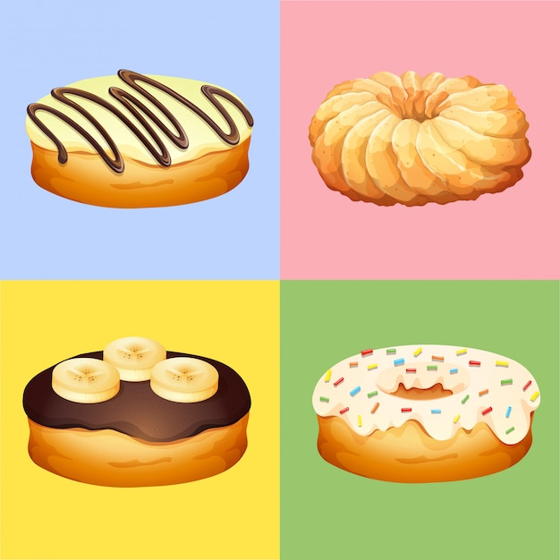 Four flavors of donuts Free Vector