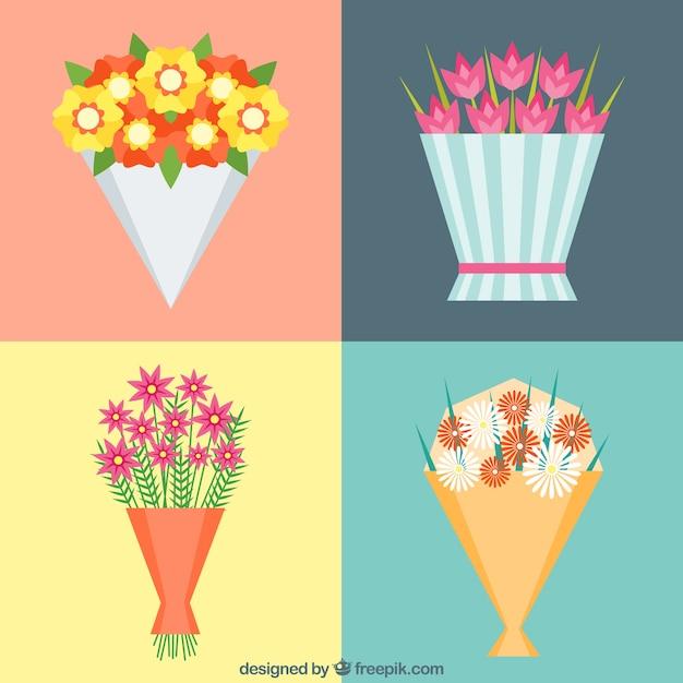 Four floral bouquets