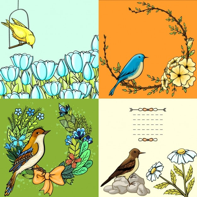 Four floral cards with birds Free Vector