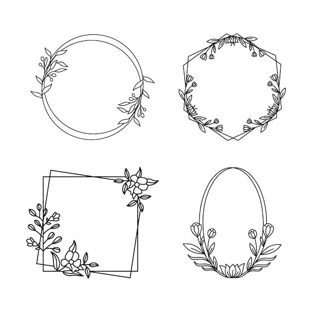 4つの花の幾何学的なフレーム Premiumベクター