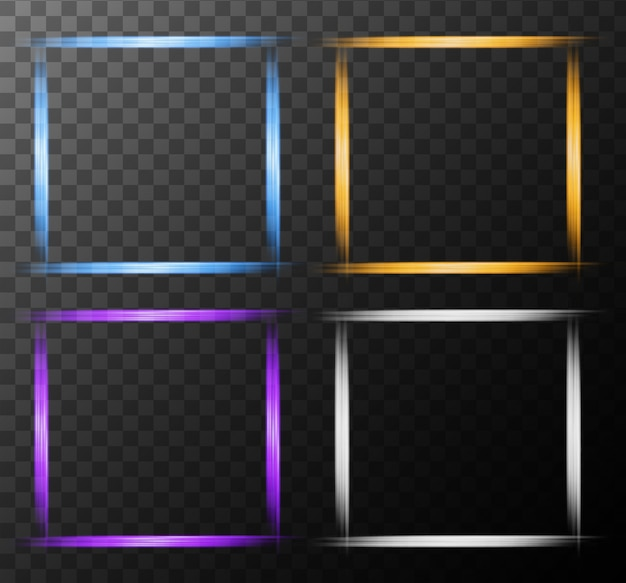 Four frames design with bright light Vector | Premium Download