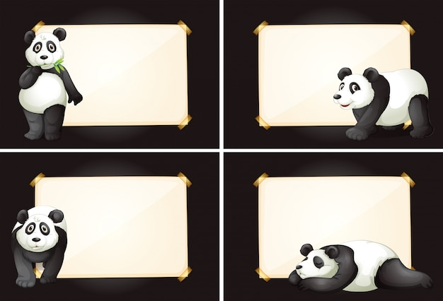Four frames with cute panda bears Vector | Free Download