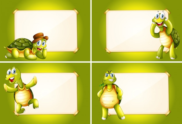 Four frames with green turtles Free Vector