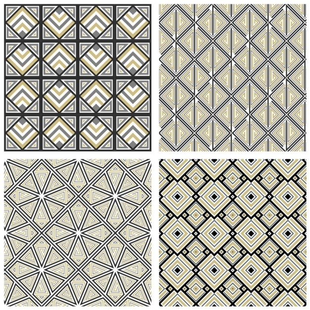 Four Geometric Patterns Vector Free Download Inspiration Geometric Patterns